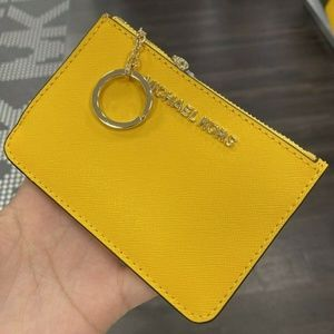 Michael Kors Coin Pouch ID Wallet Key Chain Yellow